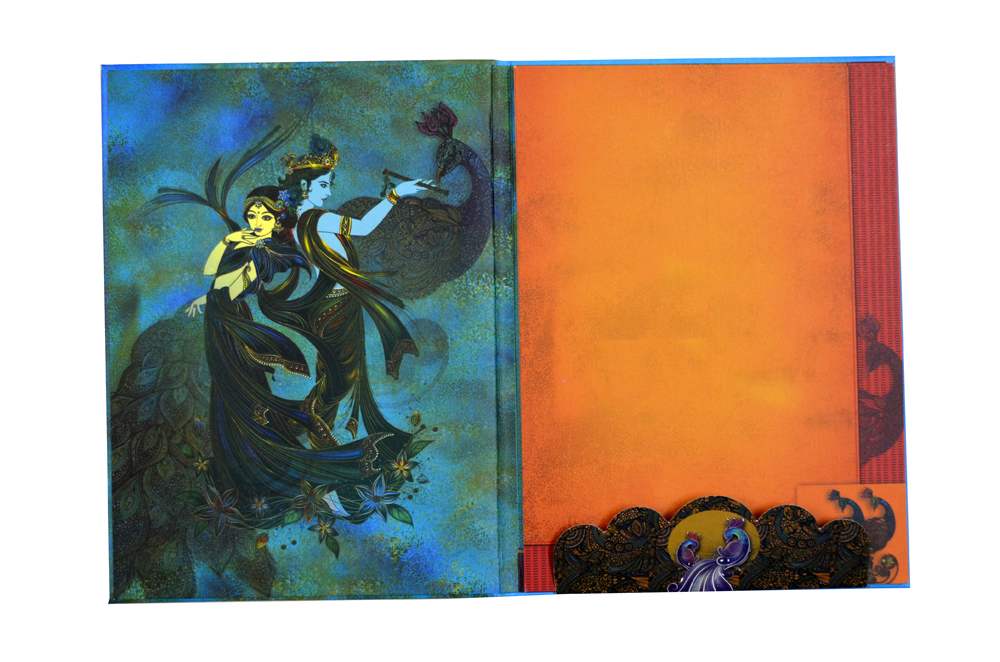 Ganesh & Peacock Wedding Card AC 520 Top Inside View