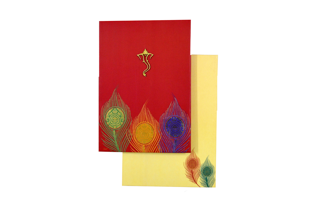 Red Wedding Card AC 526 Top View