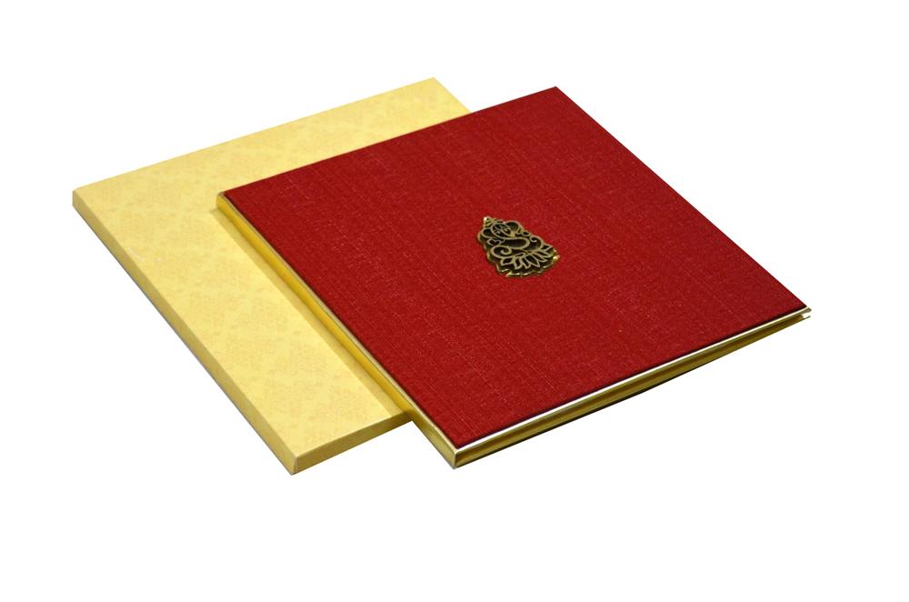 Red Cloth Hindu Wedding Card AC 531