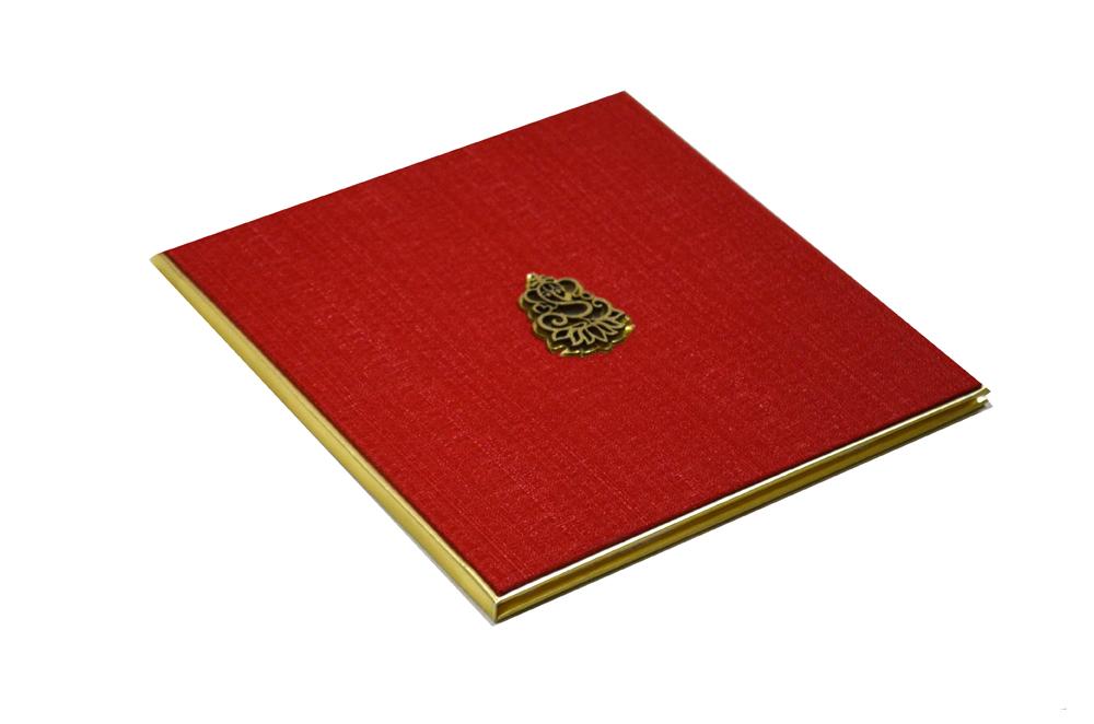 Red Cloth Hindu Wedding Card AC 531 Card