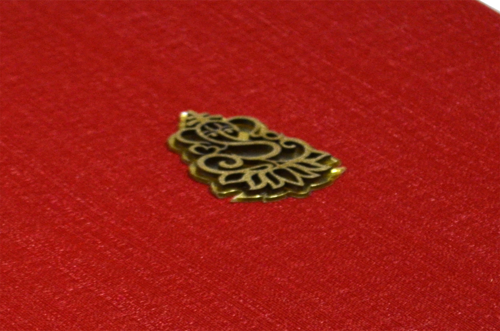 Red Cloth Hindu Wedding Card AC 531 Zoom View