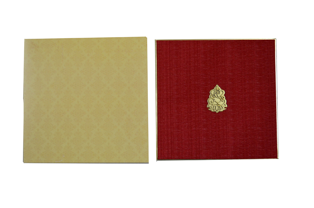 Red Cloth Hindu Wedding Card AC 531 Top View