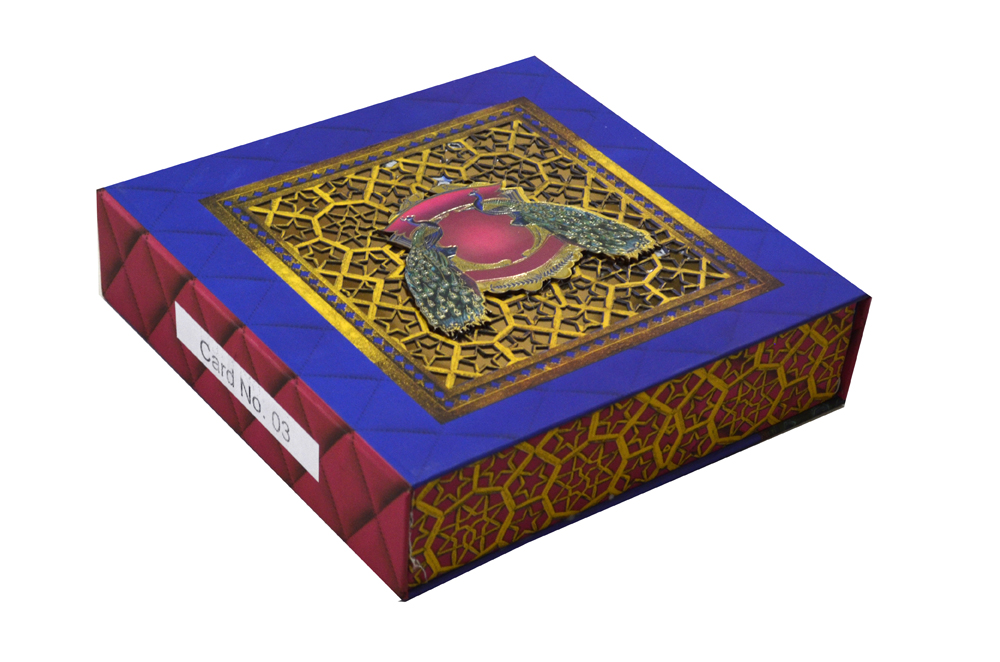 Peacock Theme Laser Cut Wedding Card Box Design PDB 003 Cross View