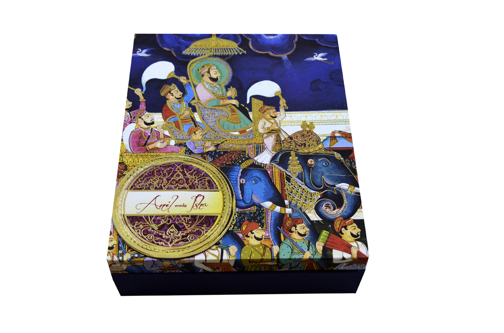 Baarat Theme Wedding Card Box Design PDB 007