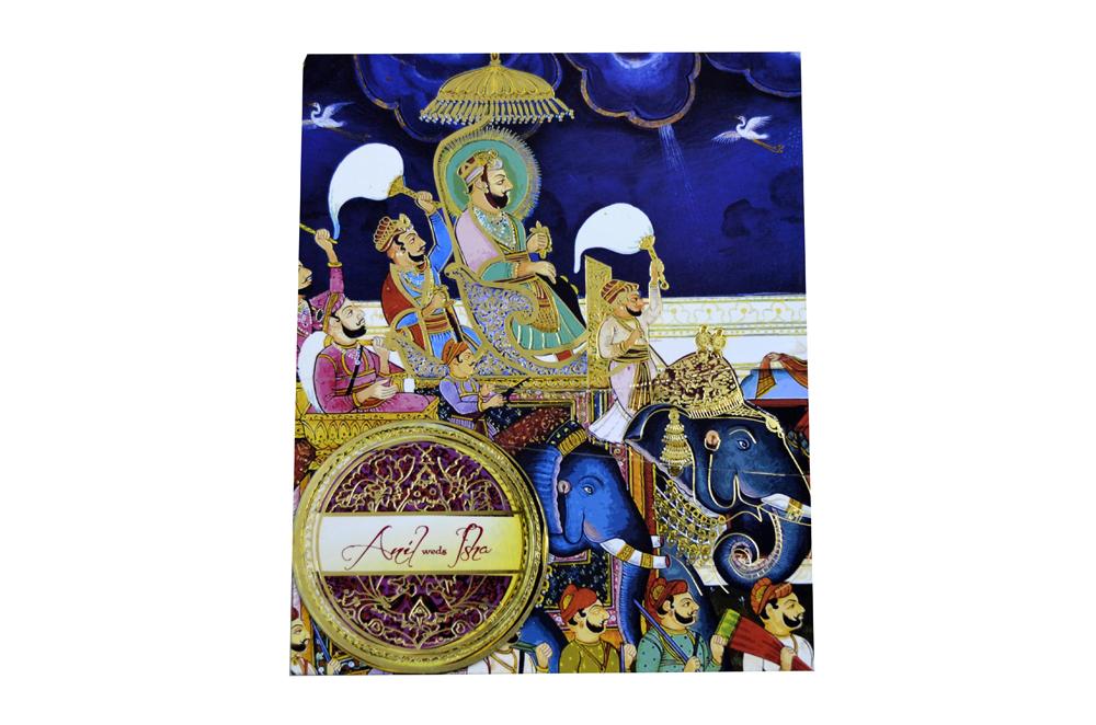 Baarat Theme Wedding Card Box Design PDB 007 Top View