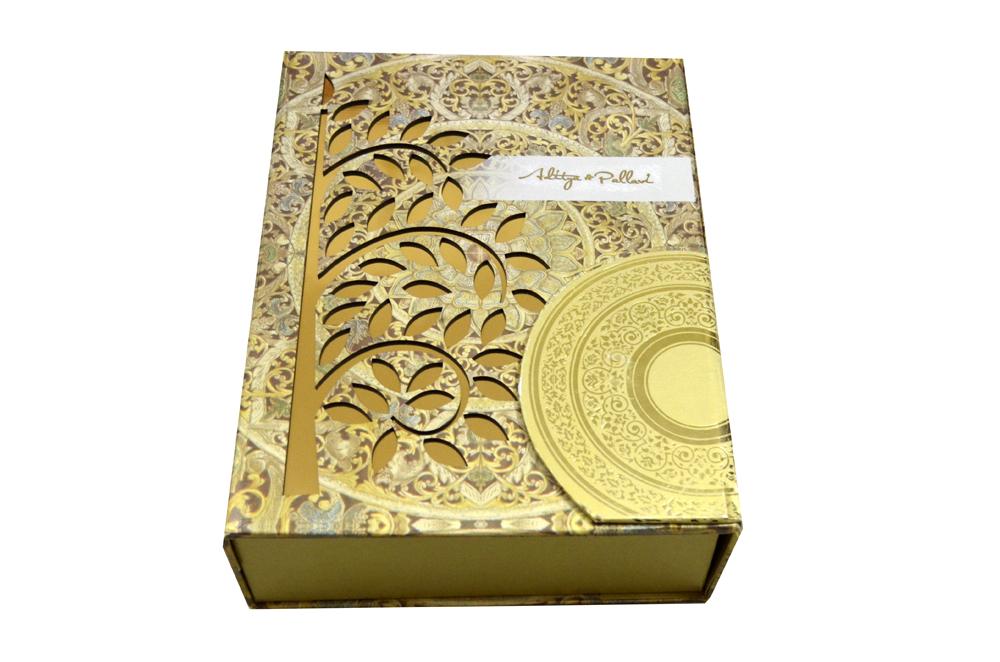 Tree Shaped Laser Wedding Card Box Design PDB 022