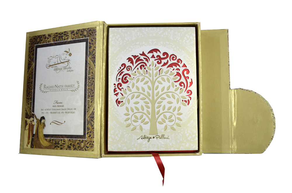 Tree Shaped Laser Wedding Card Box Design PDB 022 Inside View