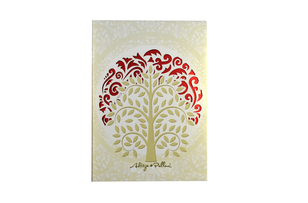 Tree Shaped Laser Wedding Card Box Design PDB 022 Card Top View