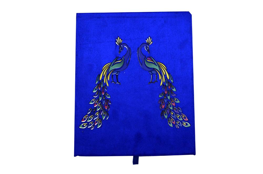 Blue Velvet Peacock Laser Wedding Card Box Design PDB 027 Top View