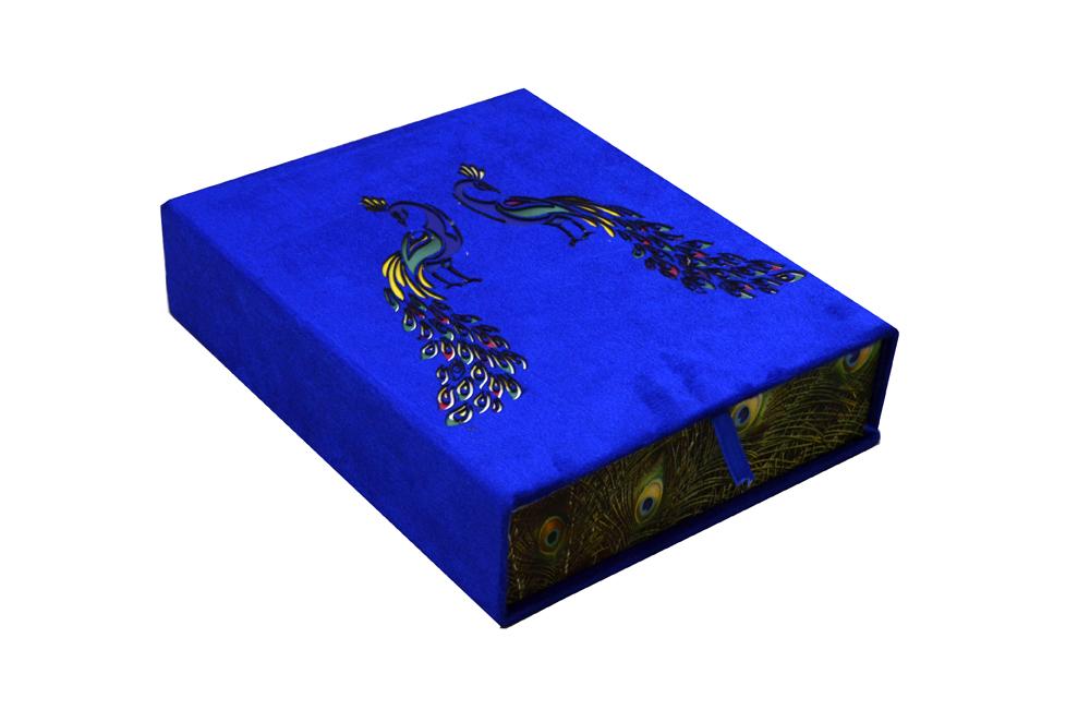 Blue Velvet Peacock Laser Wedding Card Box Design PDB 027 Cross View