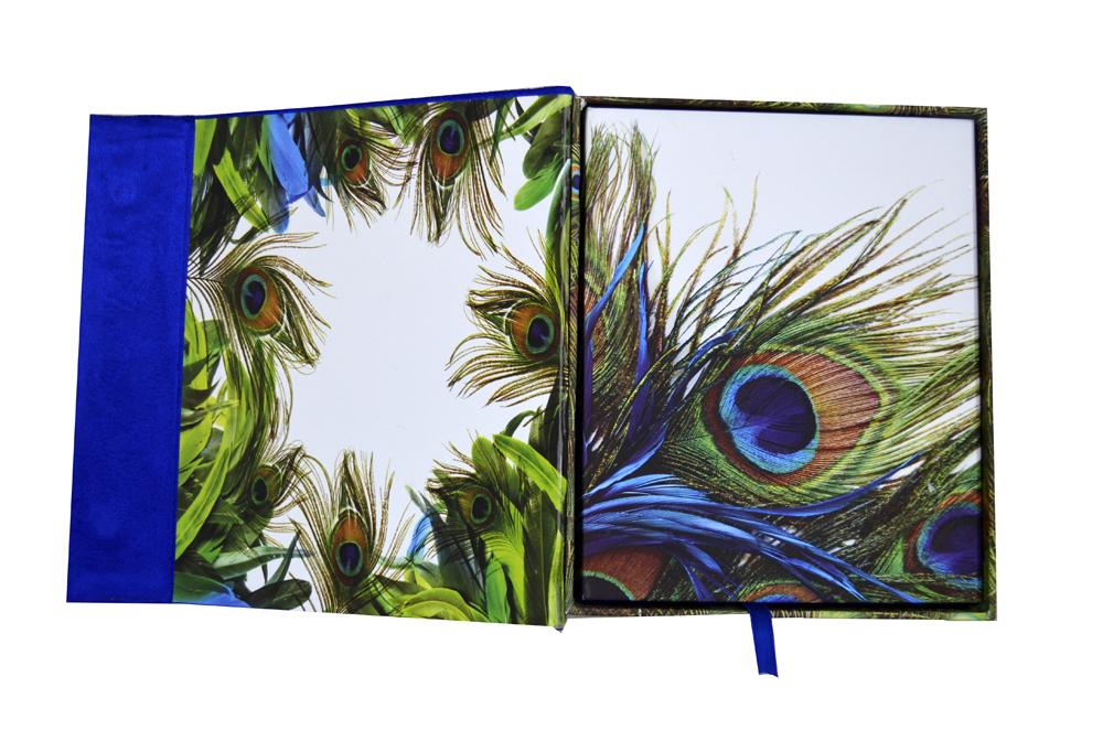 Blue Velvet Peacock Laser Wedding Card Box Design PDB 027 Inside View