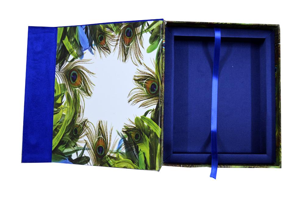 Blue Velvet Peacock Laser Wedding Card Box Design PDB 027 Inside View 2