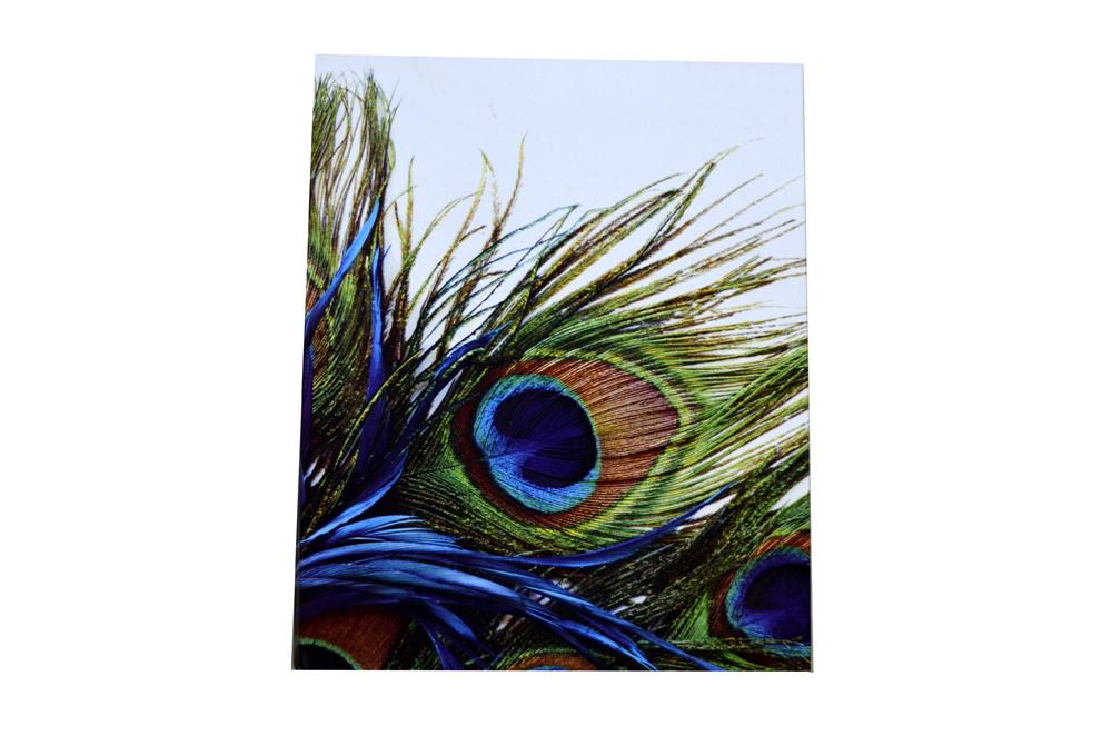 Blue Velvet Peacock Laser Wedding Card Box Design PDB 027 Card View