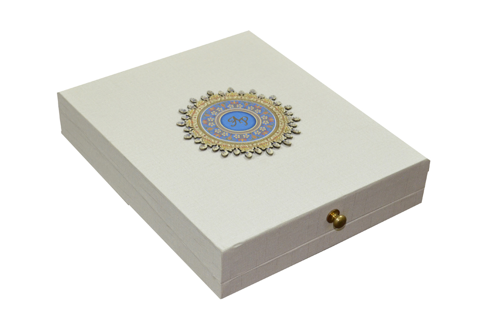 White Wedding Card Box PDB 030 Cross View