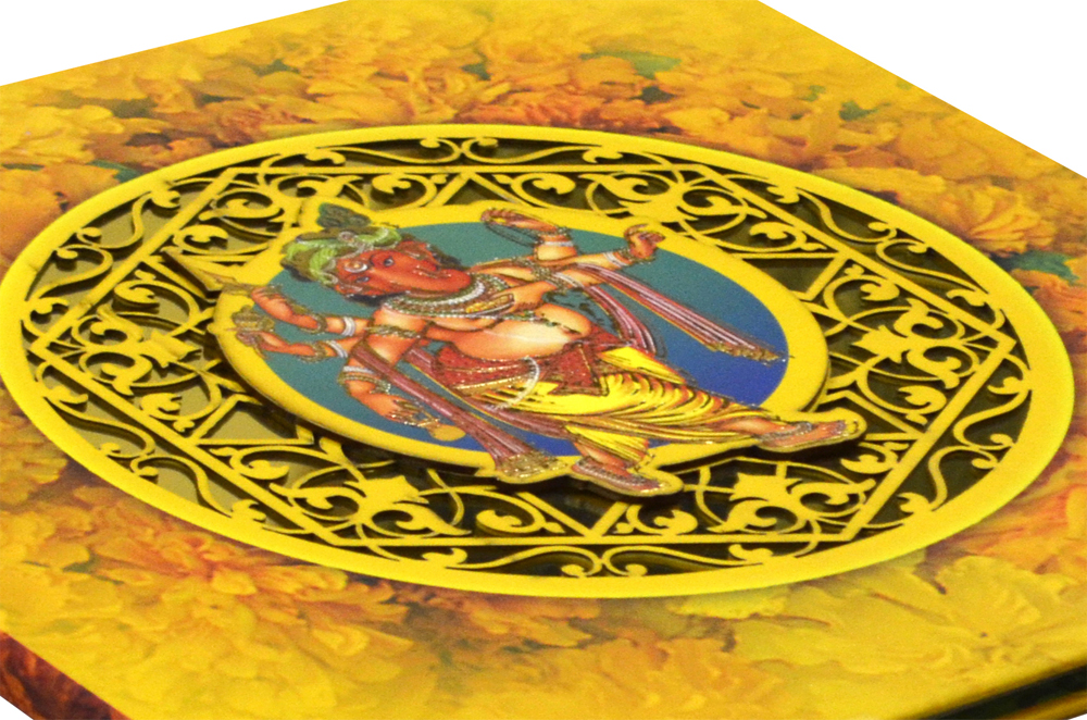 Exclusive Ganesh Theme Laser Cut Wedding Card Design PDE 001 Zoom View