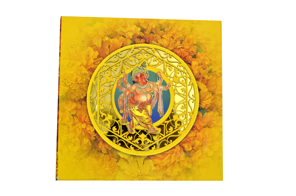 Exclusive Ganesh Theme Laser Cut Wedding Card Design PDE 001 Card Top View