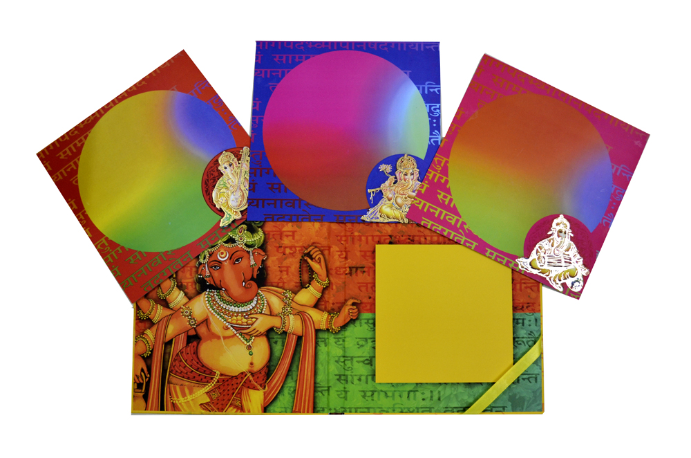 Exclusive Ganesh Theme Laser Cut Wedding Card Design PDE 001 Top Inside View