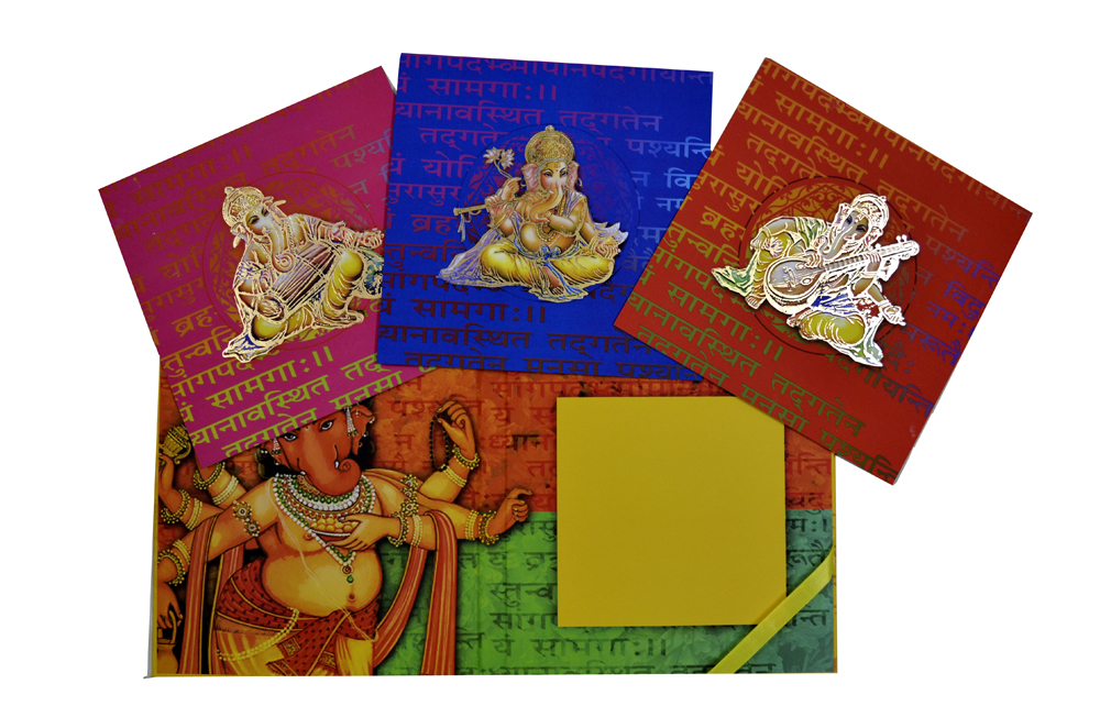 Exclusive Ganesh Theme Laser Cut Wedding Card Design PDE 001 Top Inside View 2