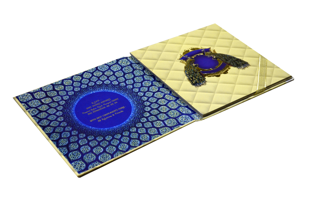Exclusive Peacock Theme Wedding Card Design PDE 003 Inside View