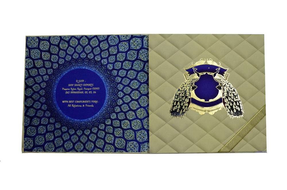 Exclusive Peacock Theme Wedding Card Design PDE 003 Top Inside View