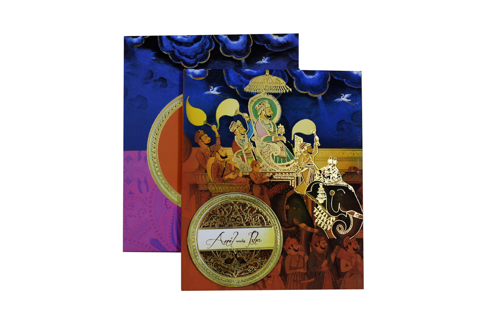 Baraat Theme Exclusive Wedding Card Design PDE 007 Top View