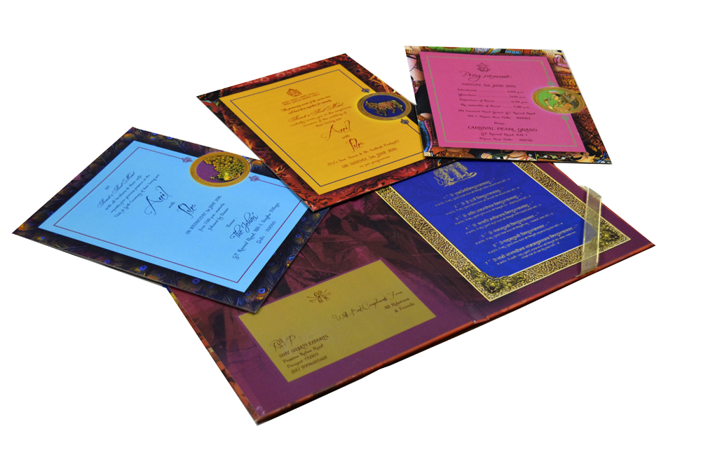 Baraat Theme Exclusive Wedding Card Design PDE 007 Inside View 1
