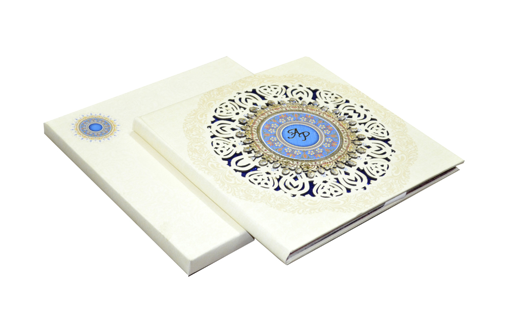 White Lasercut Exclusive Wedding Card Design PDE 030