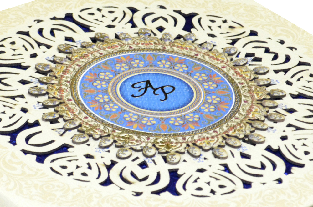 White Lasercut Exclusive Wedding Card Design PDE 030 Zoom View