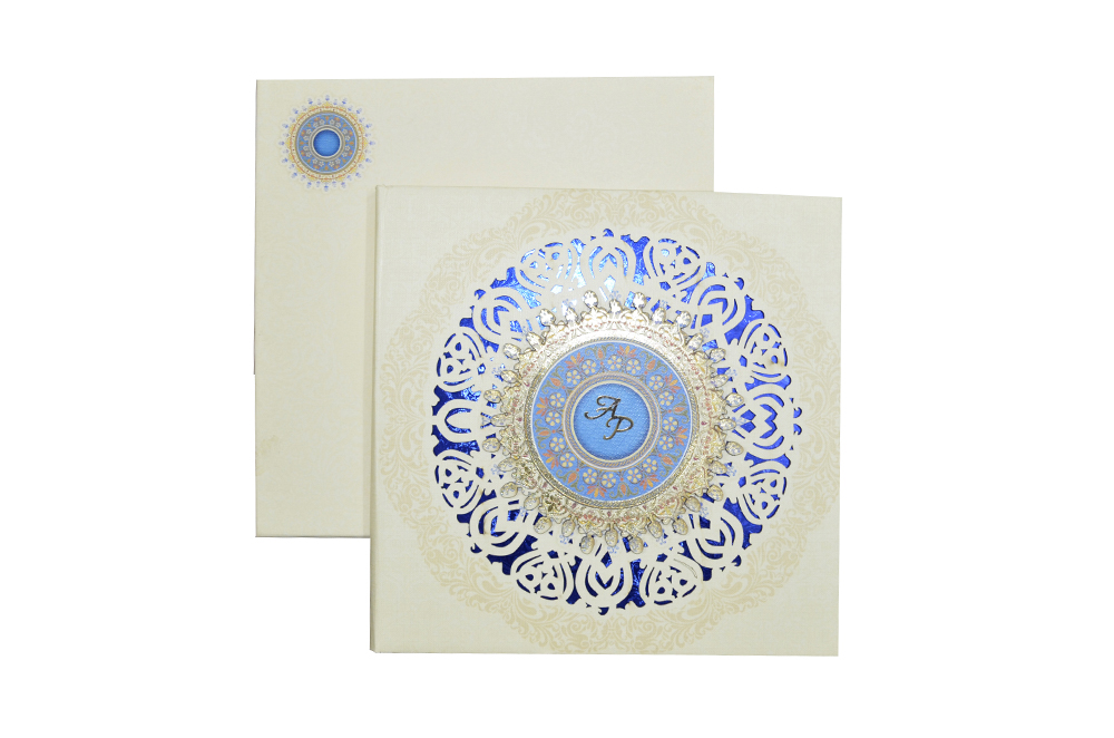 White Lasercut Exclusive Wedding Card Design PDE 030 Top View