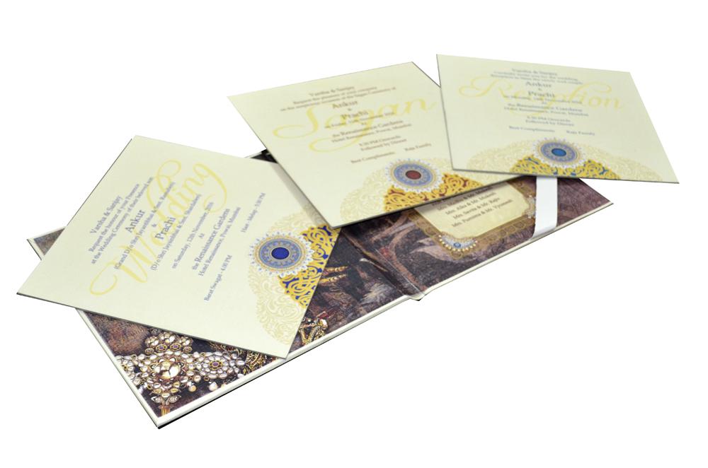 White Lasercut Exclusive Wedding Card Design PDE 030 Inside View