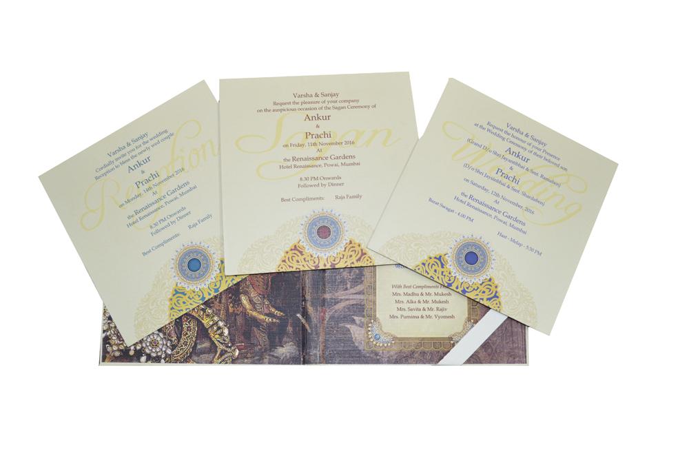 White Lasercut Exclusive Wedding Card Design PDE 030 Inside View 3