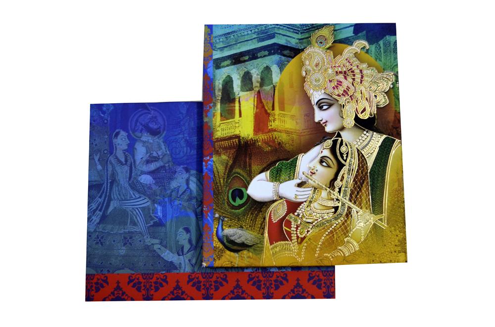 Radha Krishna Theme Exclusive Wedding Card Design PDE 041 Top View
