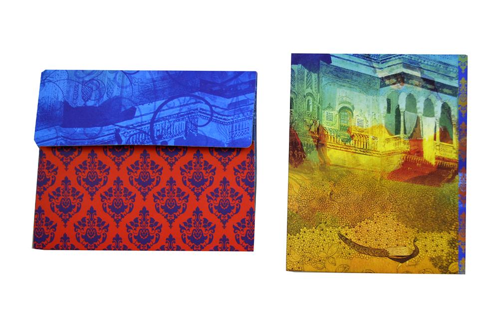 Radha Krishna Theme Exclusive Wedding Card Design PDE 041 Back View