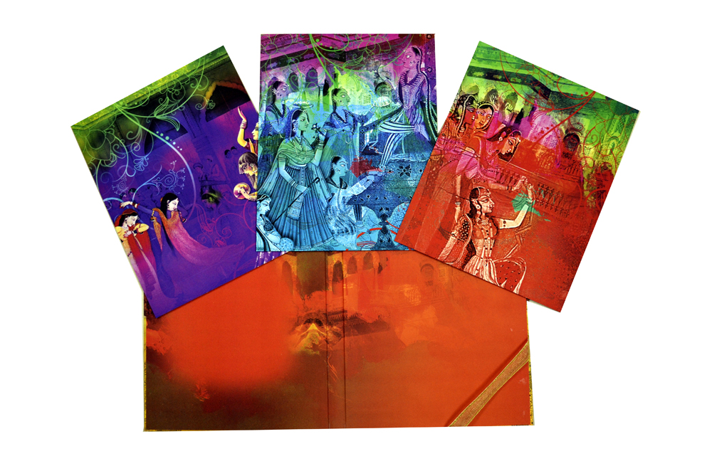 Radha Krishna Theme Exclusive Wedding Card Design PDE 041 Inside View 3