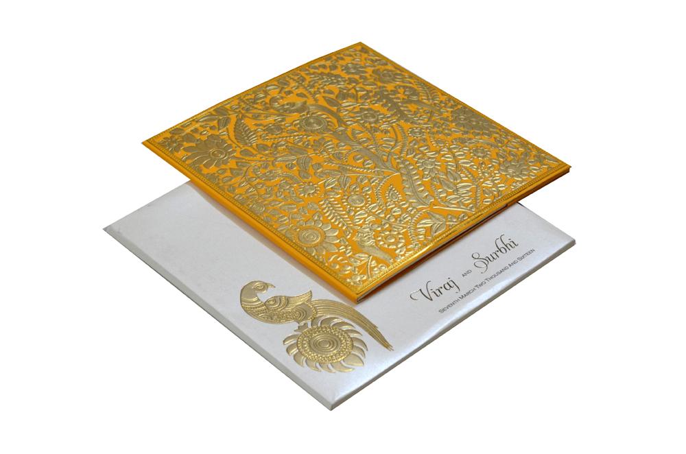 Orange Tree Theme Wedding Card Design PP 7989
