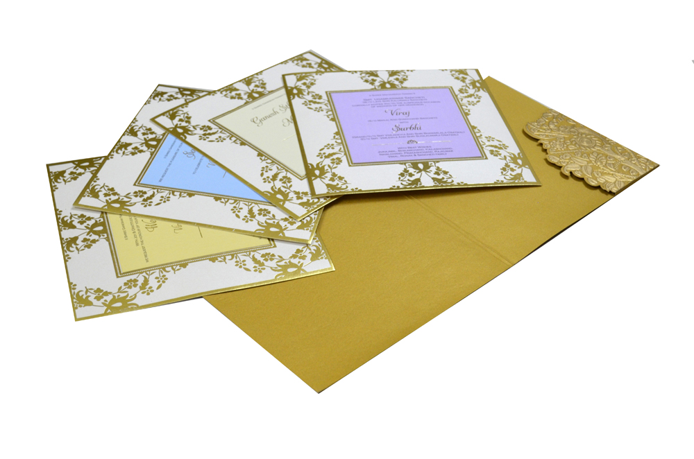 Golden Tree Theme Wedding Card Design PP 7990 Inside View