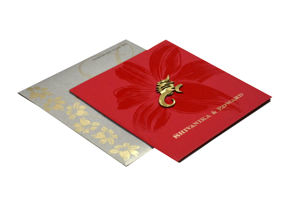 Red Hindu Wedding Card PP 8101