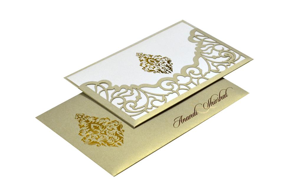 Grey Lasercut Wedding Card Design PP 8184