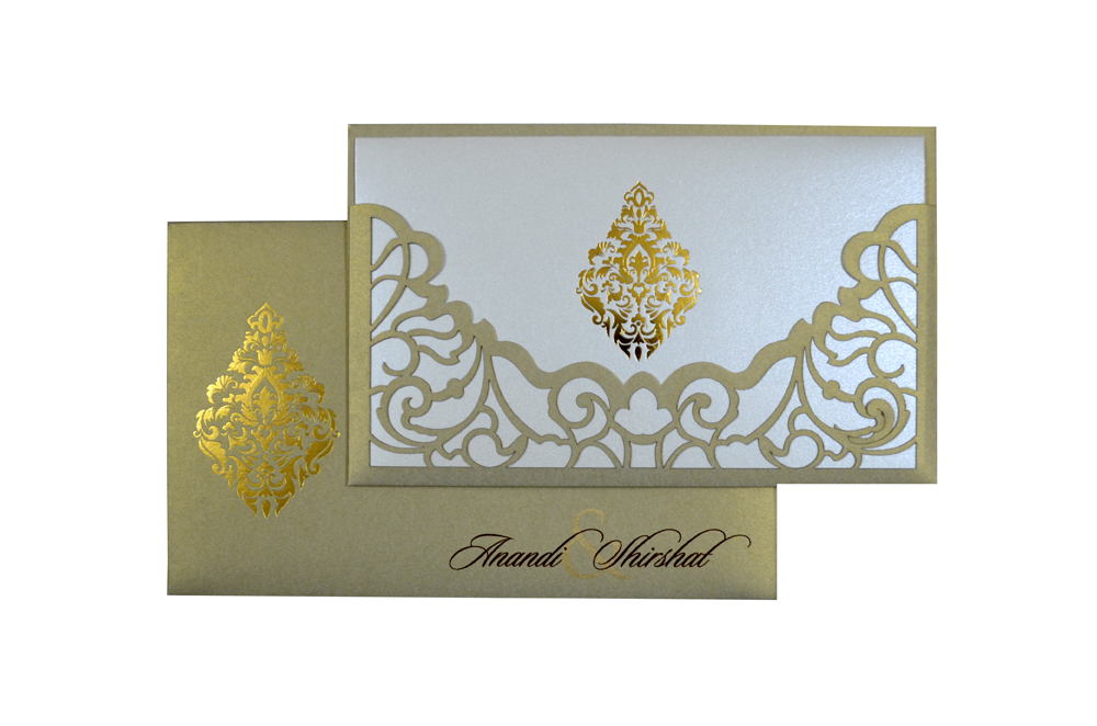 Grey Lasercut Wedding Card Design PP 8184 Top View
