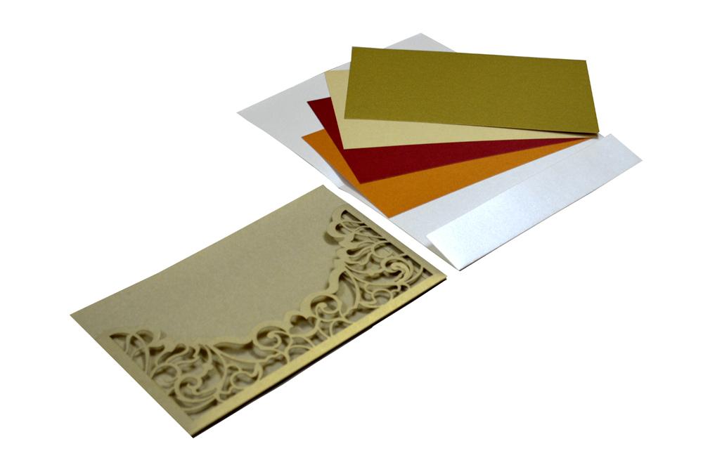 Grey Lasercut Wedding Card Design PP 8184 Inside View
