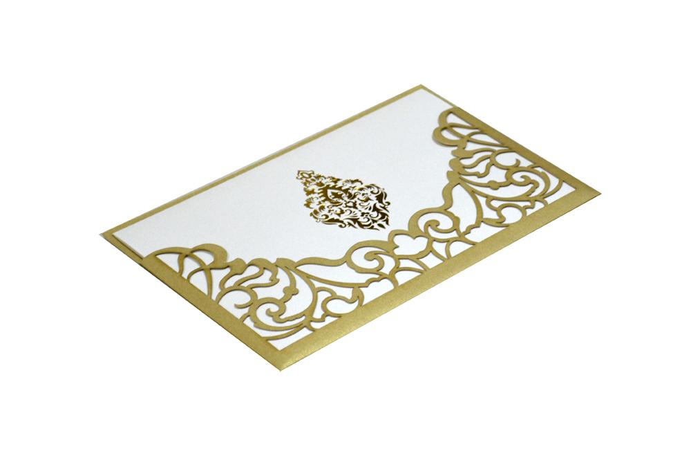 Golden Lasercut Wedding Card Design PP 8185 Card