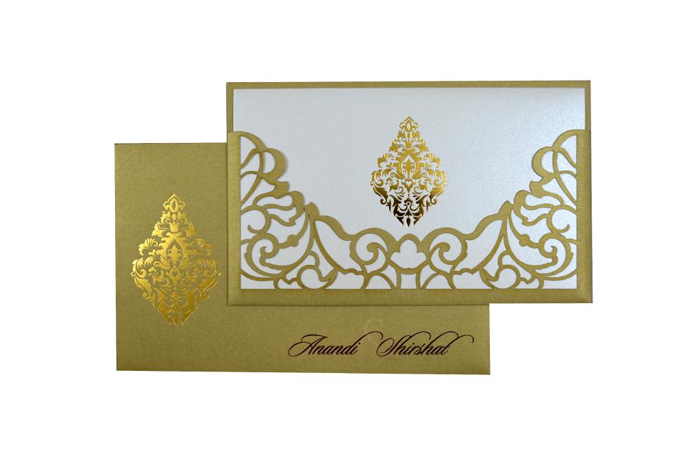 Golden Lasercut Wedding Card Design PP 8185 Top View