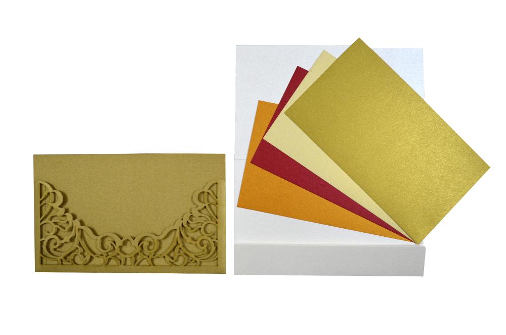 Golden Lasercut Wedding Card Design PP 8185 Top Inside View