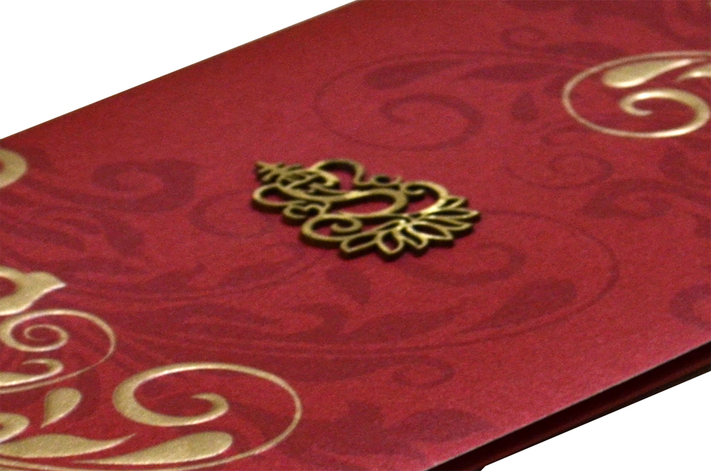 Red Hindu Wedding Card PP 8297 b