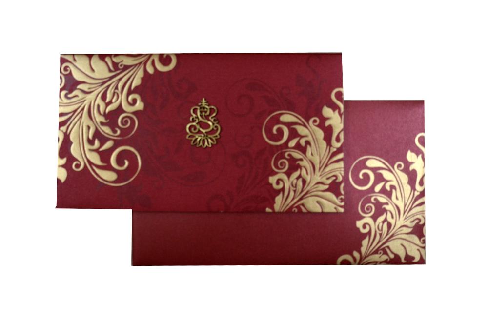 Red Hindu Wedding Card PP 8297 d