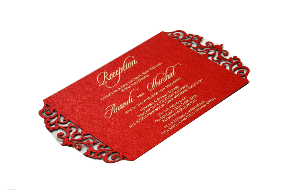 Red Satin Laser Cut Invitation Design PP 8309 c
