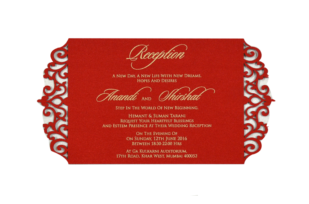 Red Satin Laser Cut Invitation Design PP 8309 e