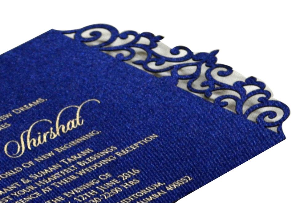 Blue Satin Laser Cut Invitation Design PP 8310 b
