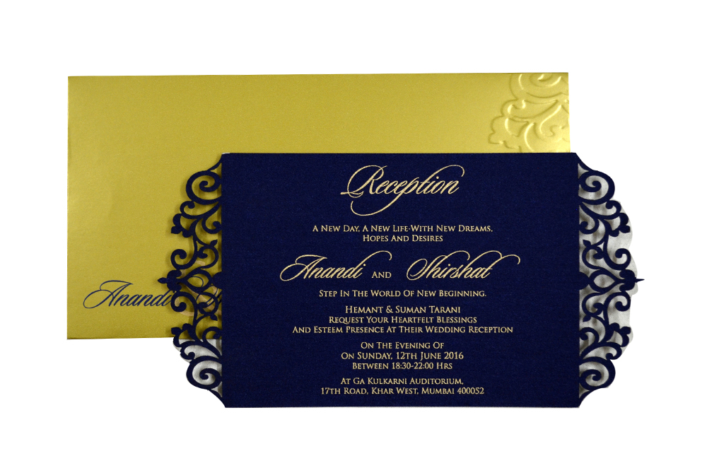 Blue Satin Laser Cut Invitation Design PP 8310 d