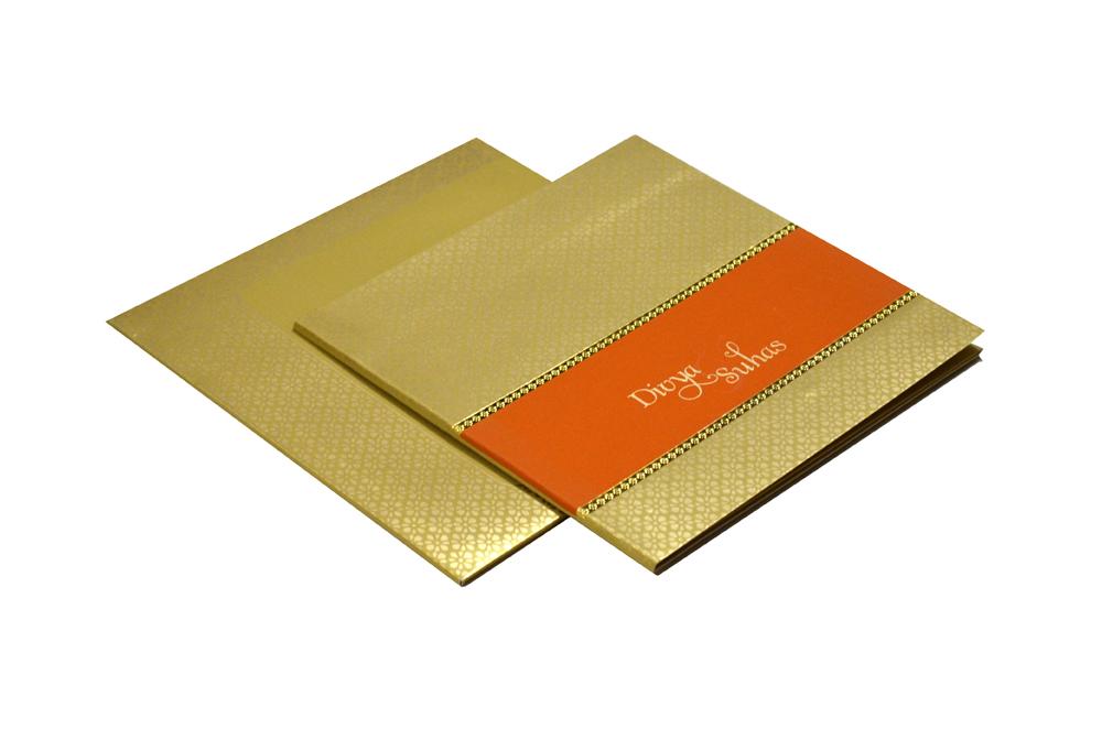 Golden & Orange Wedding Card Design PR 333